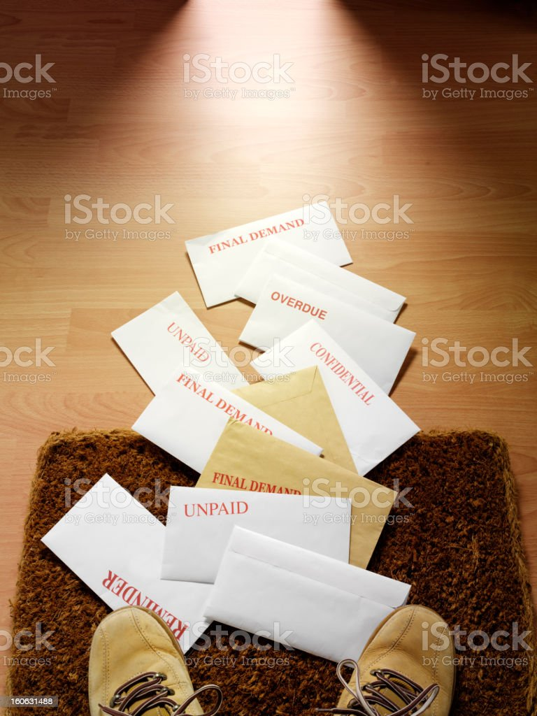 Mail and Unpaid Financial Bills royalty-free stock photo