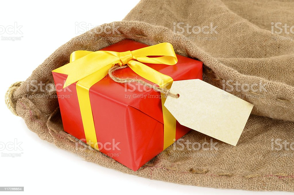 Mail bag with red gift royalty-free stock photo