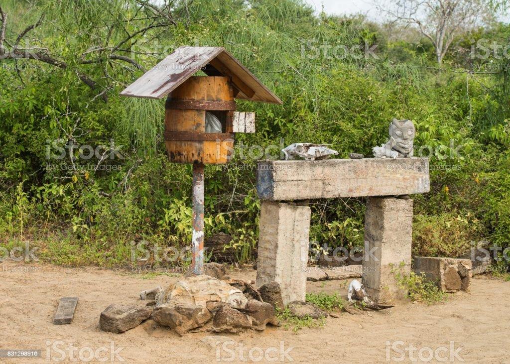 mail box Post Office Bay, Galapagos stock photo