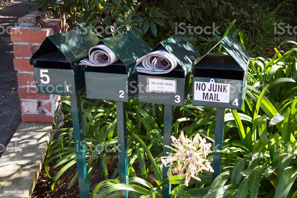 Mail Boxes - No Junk Mail stock photo