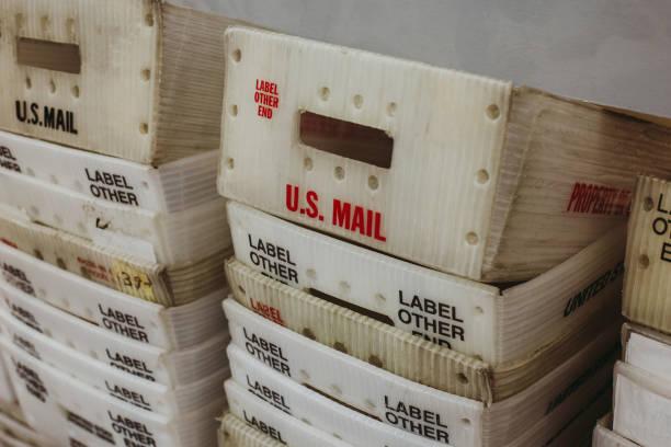 Mail Bulk Mail Trays - US Mailing Post stock photo