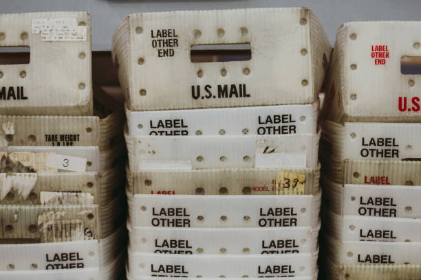 Mail Bulk Mail Trays - US Post Office Mailing stock photo