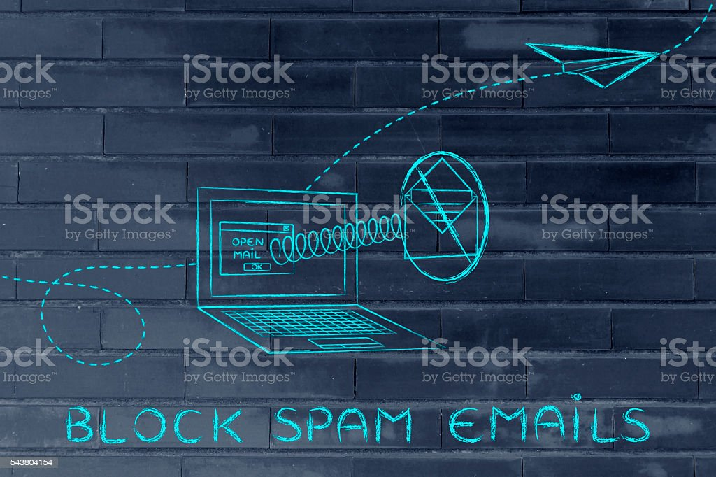 mail coming out of a computer & stop sign stock photo