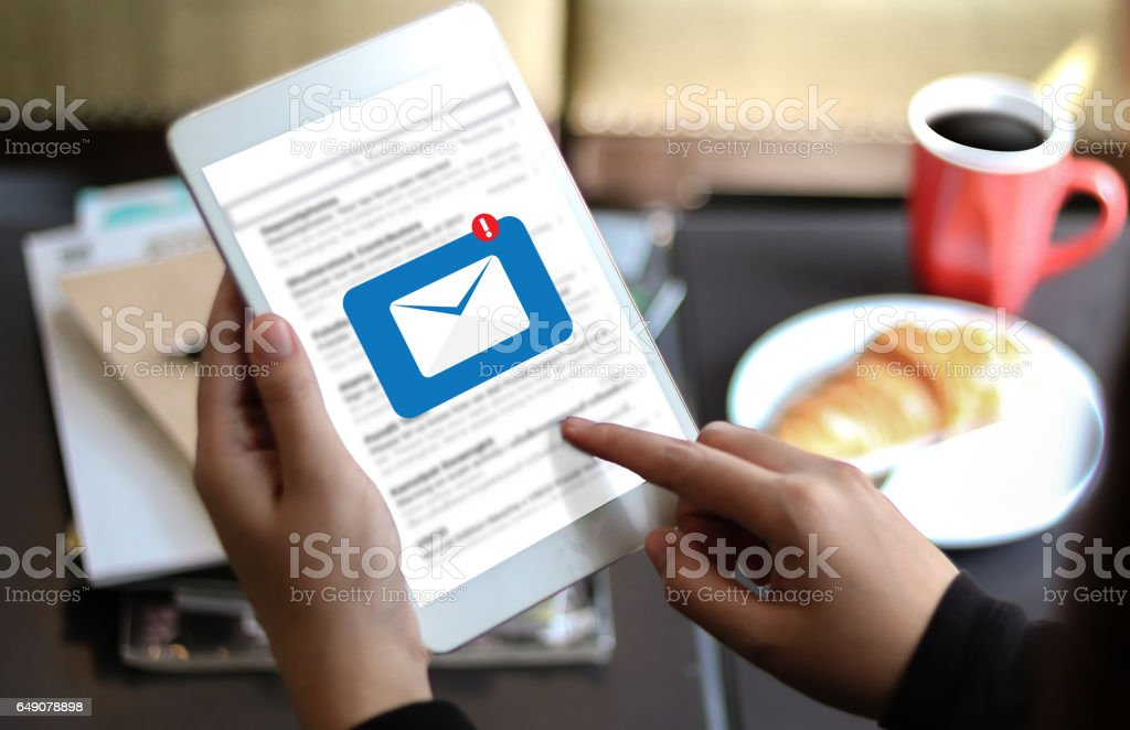Mail Communication Connection message to mailing contacts phone Global Letters Concept stock photo