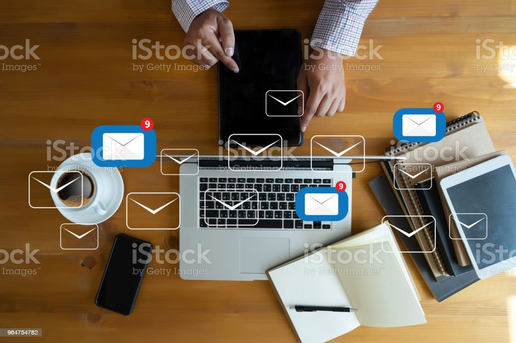 Mail Communication Connection message to mailing contacts phone Global Letters Concept royalty-free stock photo