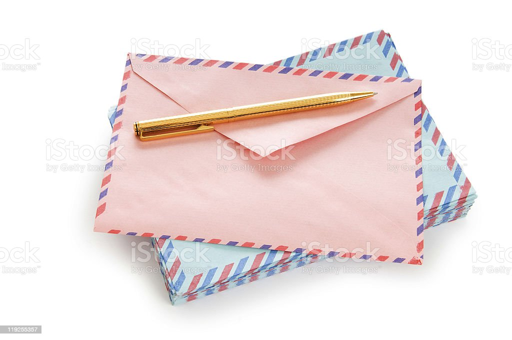 Mail concept with many envelopes on the table royalty-free stock photo