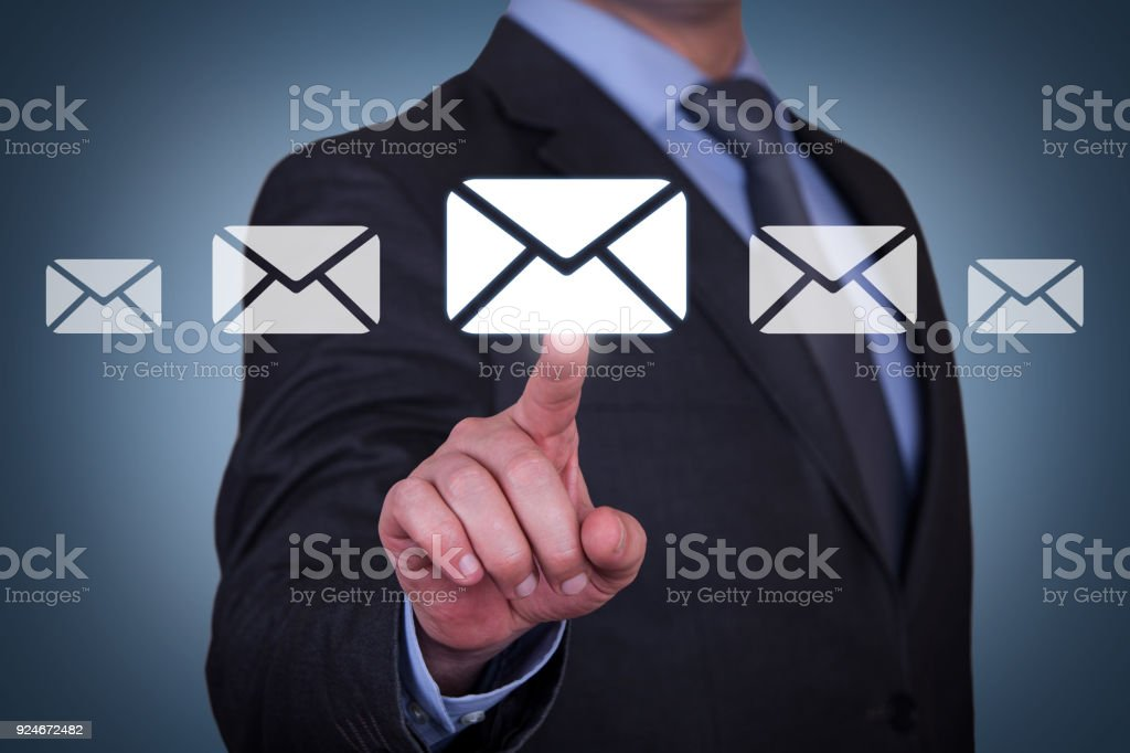 Mail concepts on touch screen stock photo