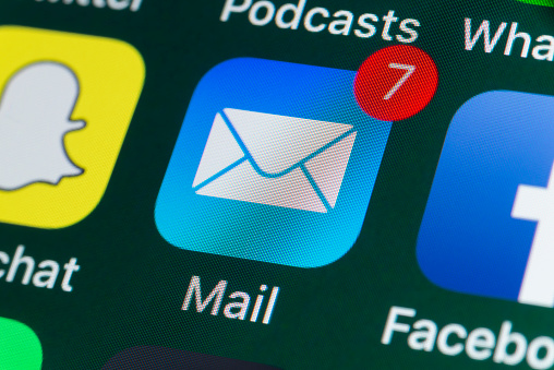 Mail, Facebook, Snapchat and other phone Apps on iPhone screen