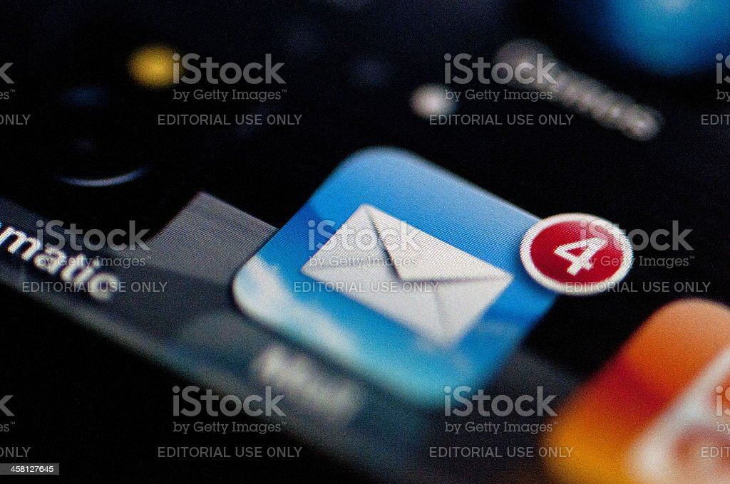 Mail icon on an iphone royalty-free stock photo