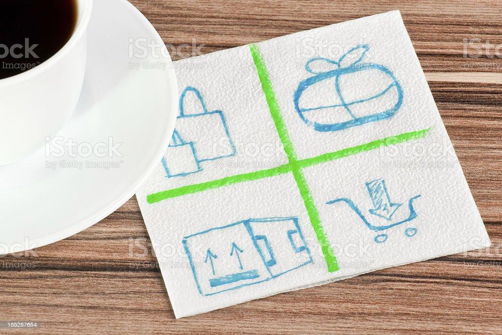 Mail logo on a napkin royalty-free stock photo