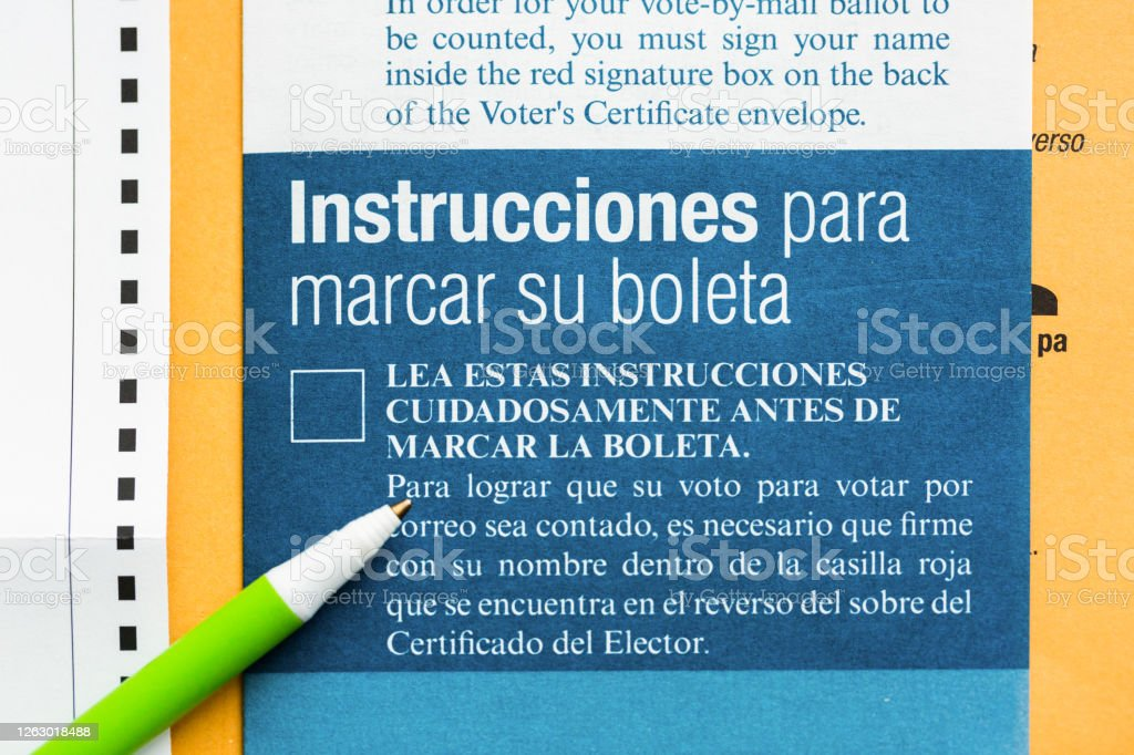 Mail Voting Ballot Instructions in Spanish Mail Voting Ballot Instructions in Spanish Bilingual Stock Photo