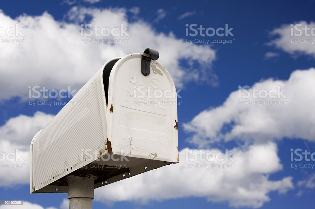 Mailbox Against Blue Sky and Clouds  Blue Stock Photo