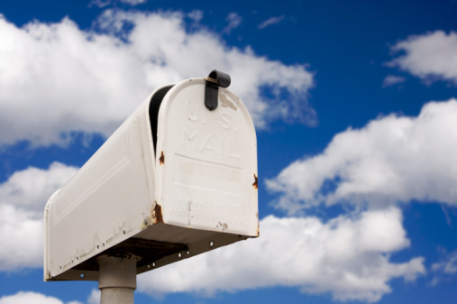 Mailbox Against Blue Sky And Clouds Stock Photo - Download Image Now