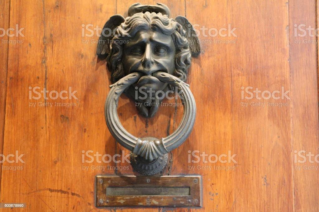 Mailbox And Old Vintage Italian Hand Door Knocker, Italy Royalty Free Stock  Photo