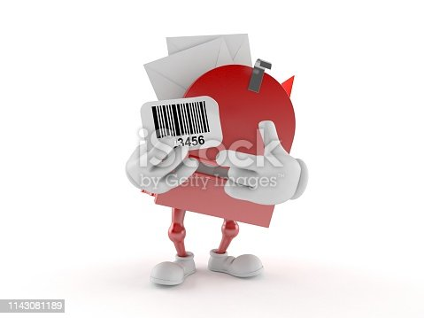 istock Mailbox character holding barcode 1143081189