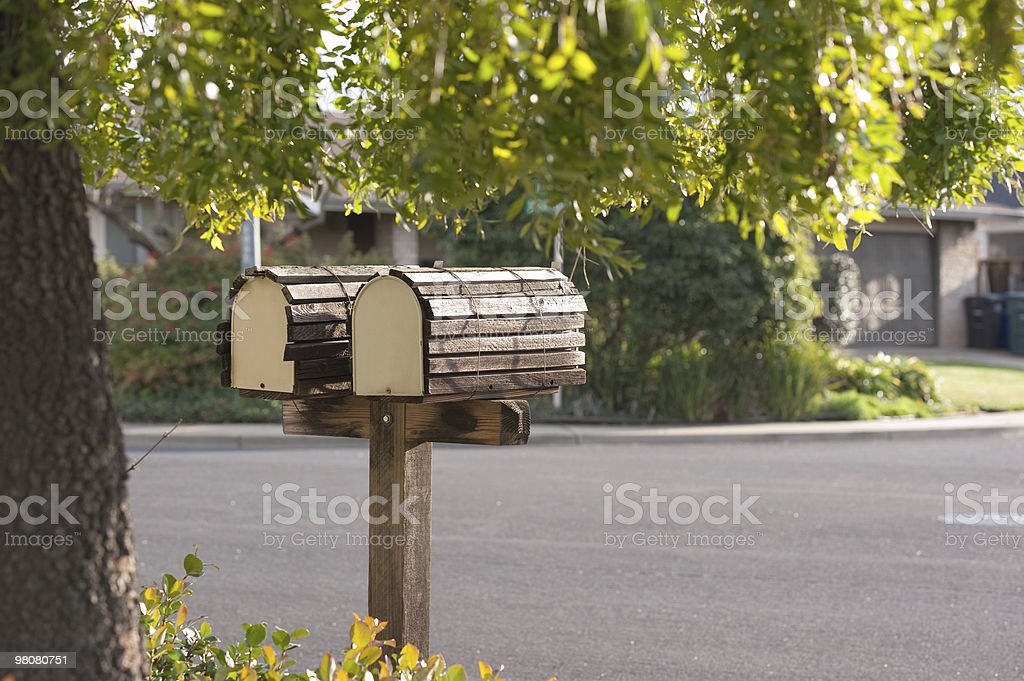 mailbox duo on suburban street royalty-free stock photo