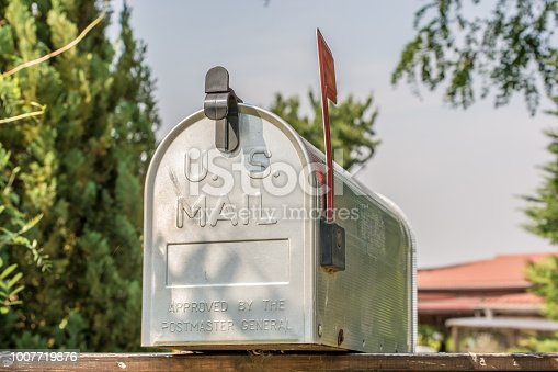 istock US mailbox from the front with upright flag 1007719876