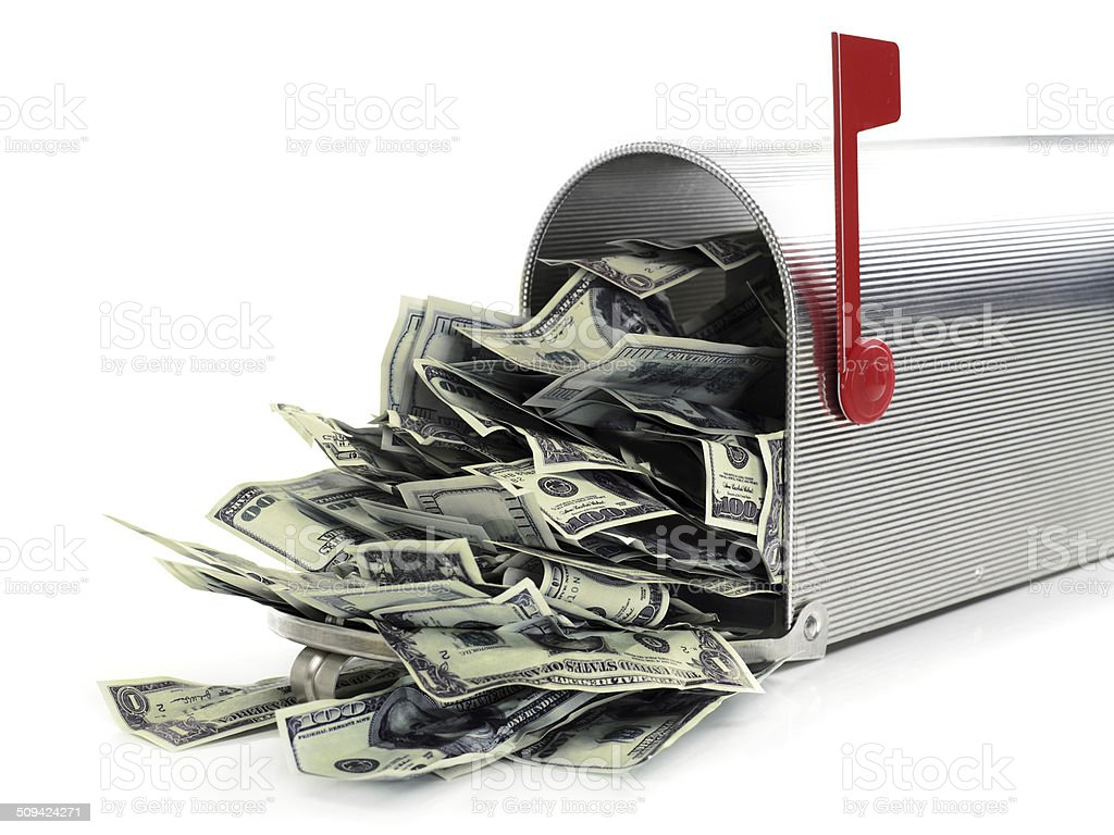 Mailbox full of money stock photo