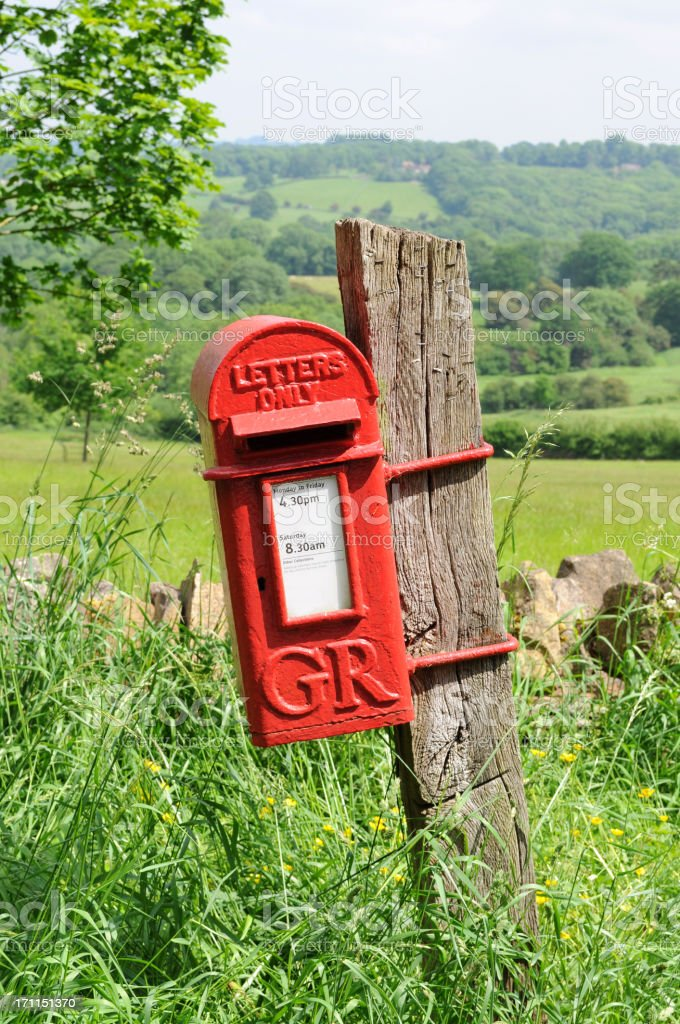 Mailbox in countryside of England royalty-free stock photo