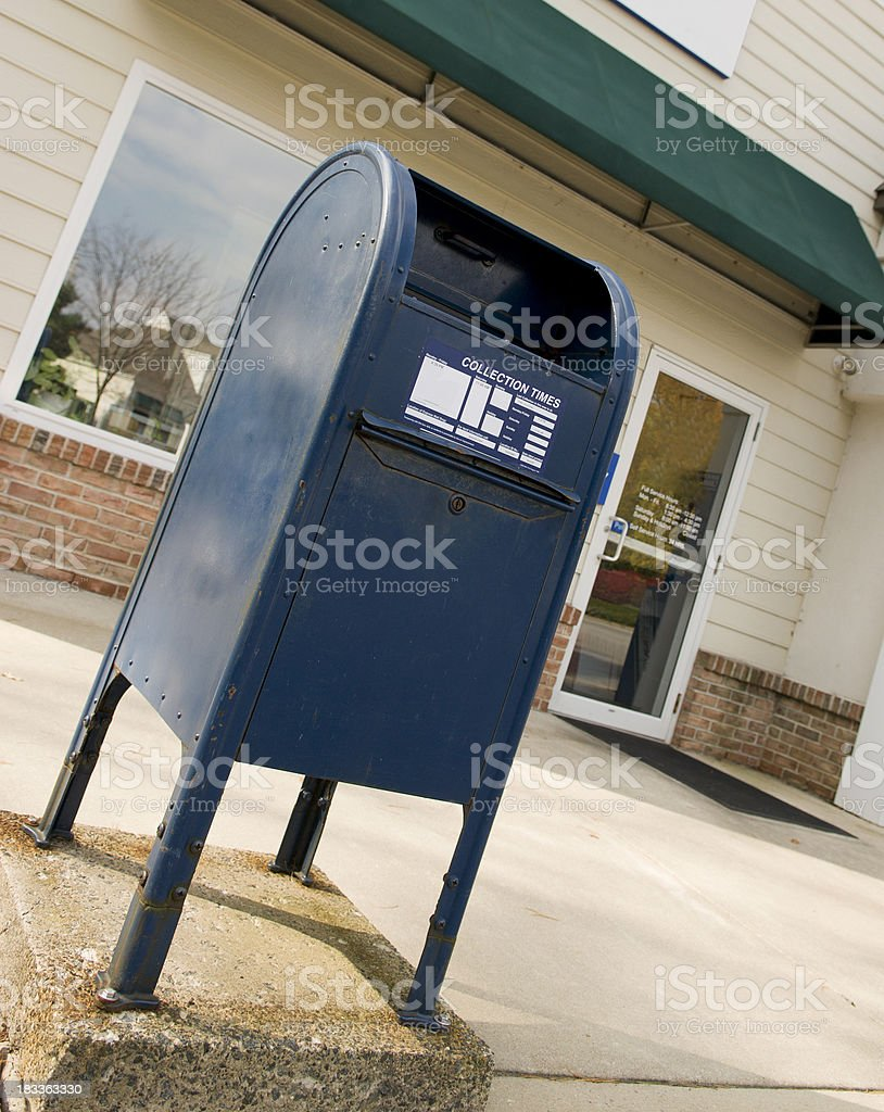 Mailbox in front of Post Office stock photo
