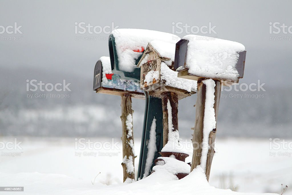 Mailbox in the north america countryside stock photo