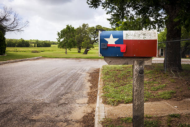 Mailbox painted with the Texas Flag stock photo