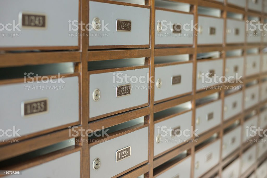 Mailbox with number and key pattern perspective stock photo