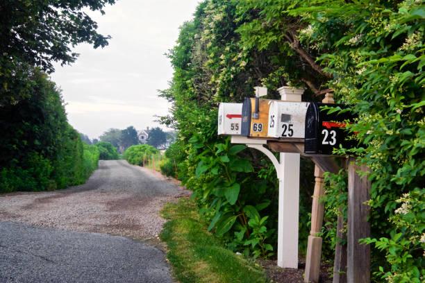 Mailboxes along small road, Cape Cod, Massachusetts, USA stock photo