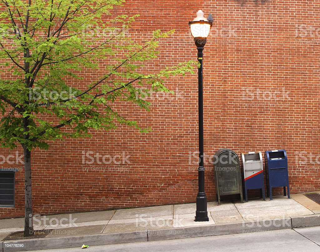 mailboxes and streetlight H stock photo