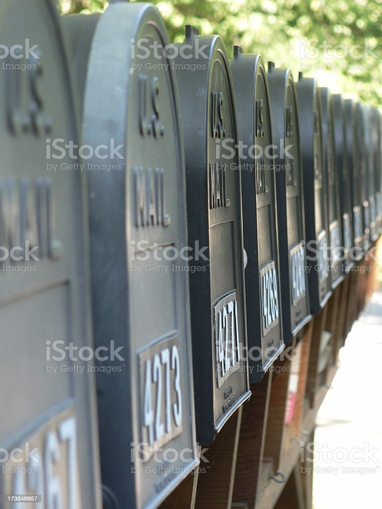 mailboxes at a row stock photo