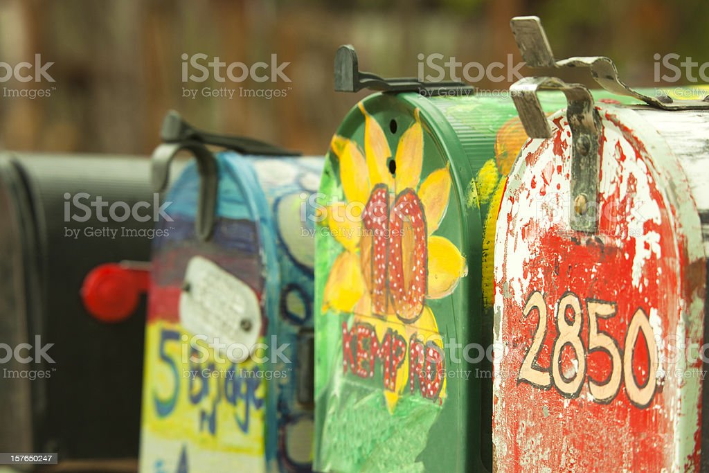 Mailboxes in a Row, Brightly Painted, Rural royalty-free stock photo
