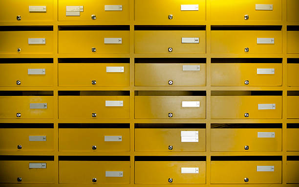 Mailboxes in an apartment house stock photo