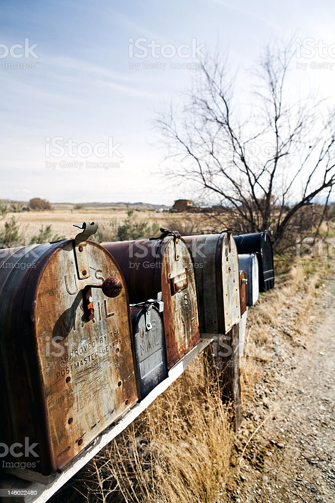 mailboxes in midwest usa royalty-free stock photo