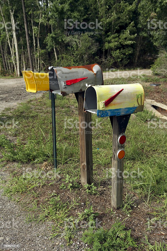 Mailboxes in the field royalty-free stock photo