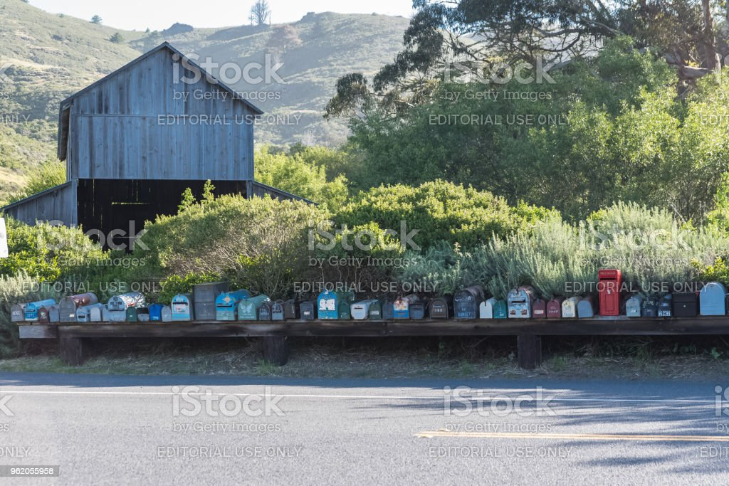 Mailboxes on a California road stock photo