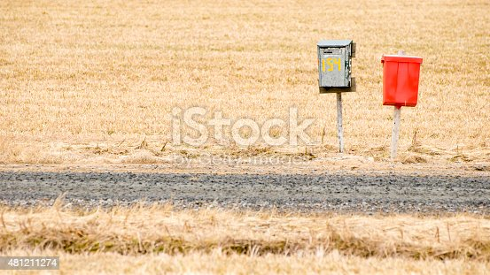 istock Mailboxes on a country road 481211274