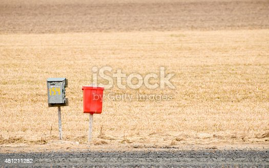 istock Mailboxes on a country road 481211282