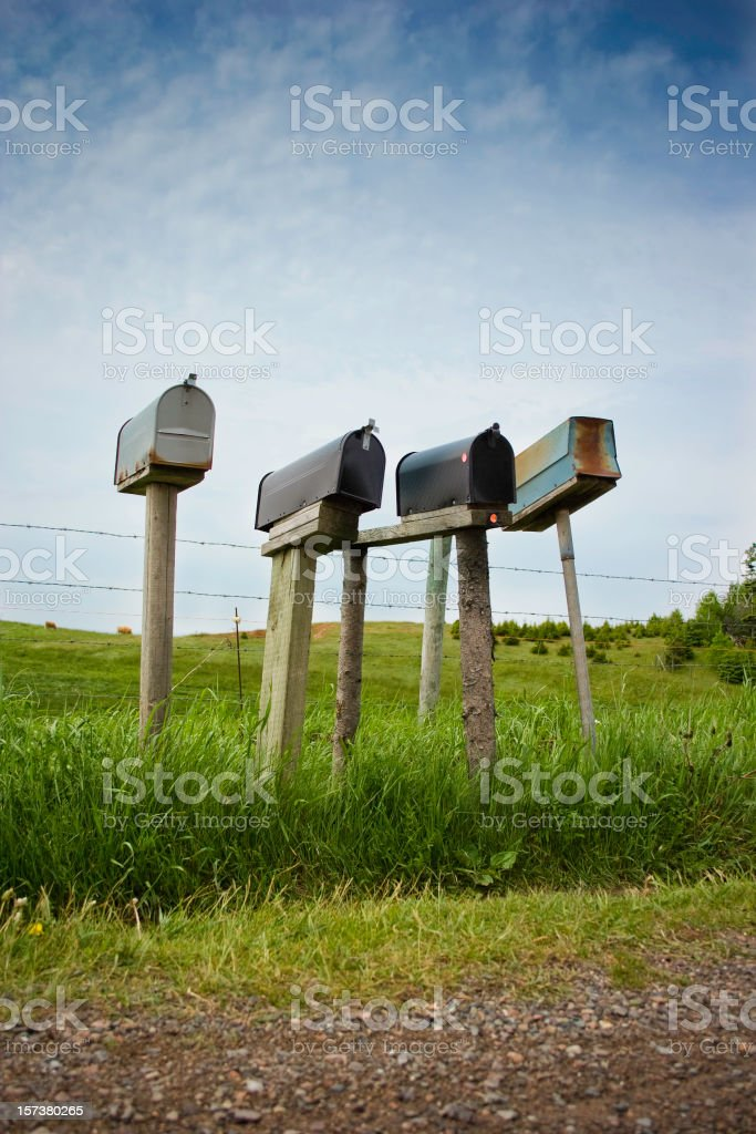 Mailboxes on Country Road royalty-free stock photo