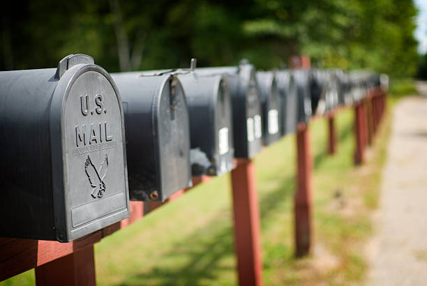 Mailboxes US mailboxes in a row. Adobe RGB. mailbox stock pictures, royalty-free photos & images