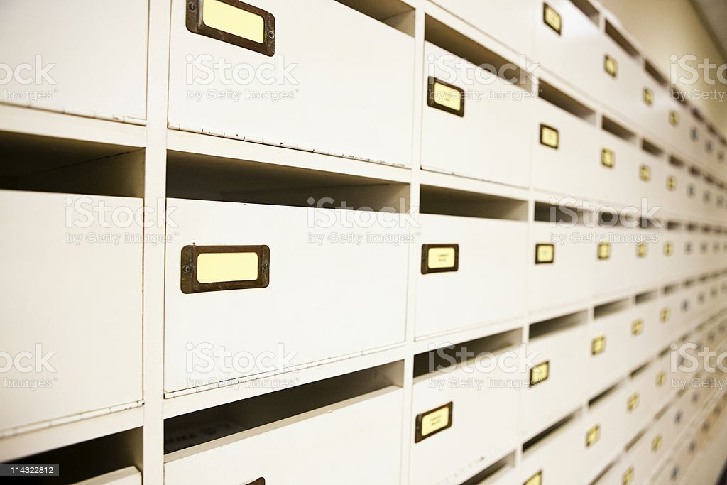 Mailboxes / pigeon holes stock photo