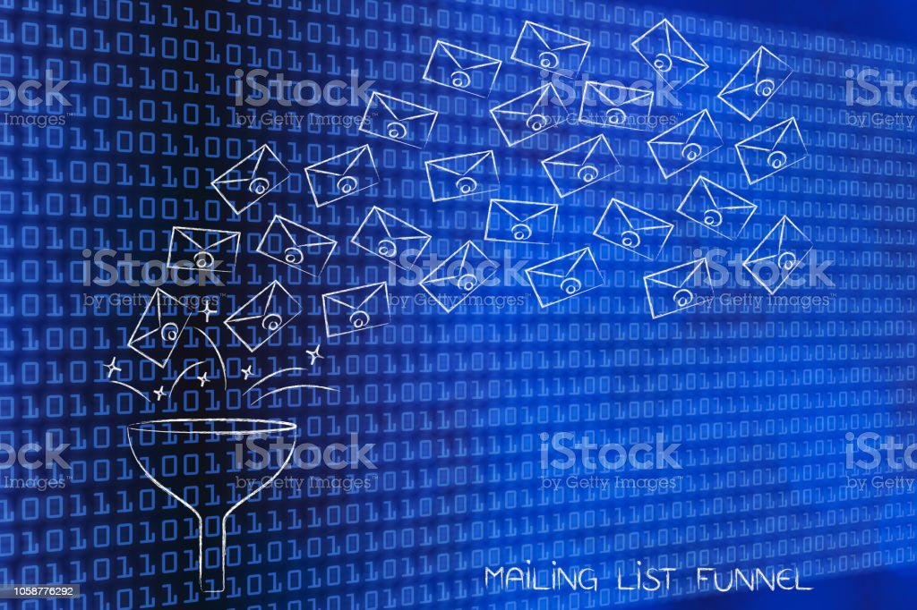 mailing list funnel collecting emails stock photo