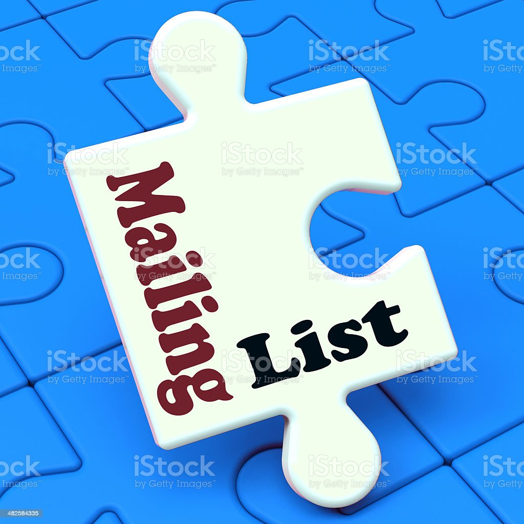 Mailing List Puzzle Shows Email Marketing Lists Online stock photo