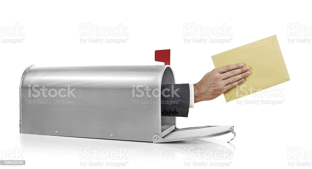 Mailman with envelope stock photo