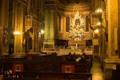 Main altar of the Naples Cathedral. Is a Roman Catholic church and the seat of the Archbishop of Naples. It is known as the Cattedrale di San Gennaro (St Januarius).