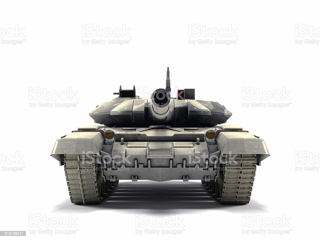 T-90 Main Battle Tank, isolated on white background stock photo