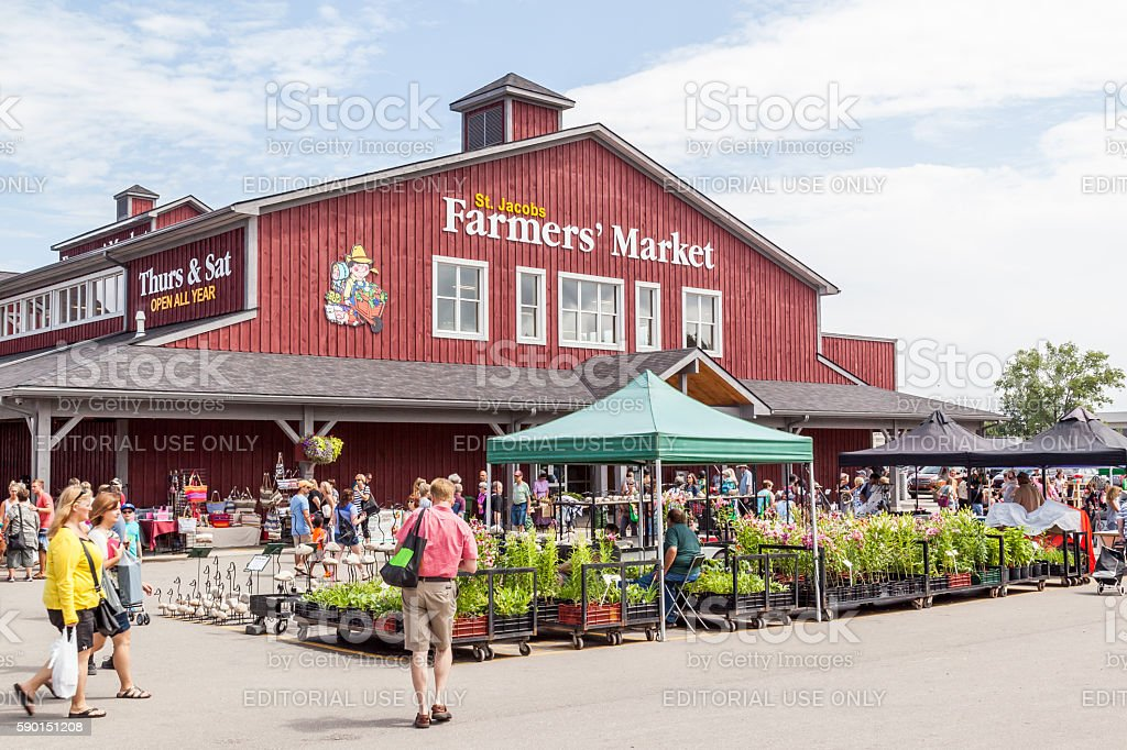 Main building in St. Jacobs farmer's market, Jacobs, Ontario, stock photo