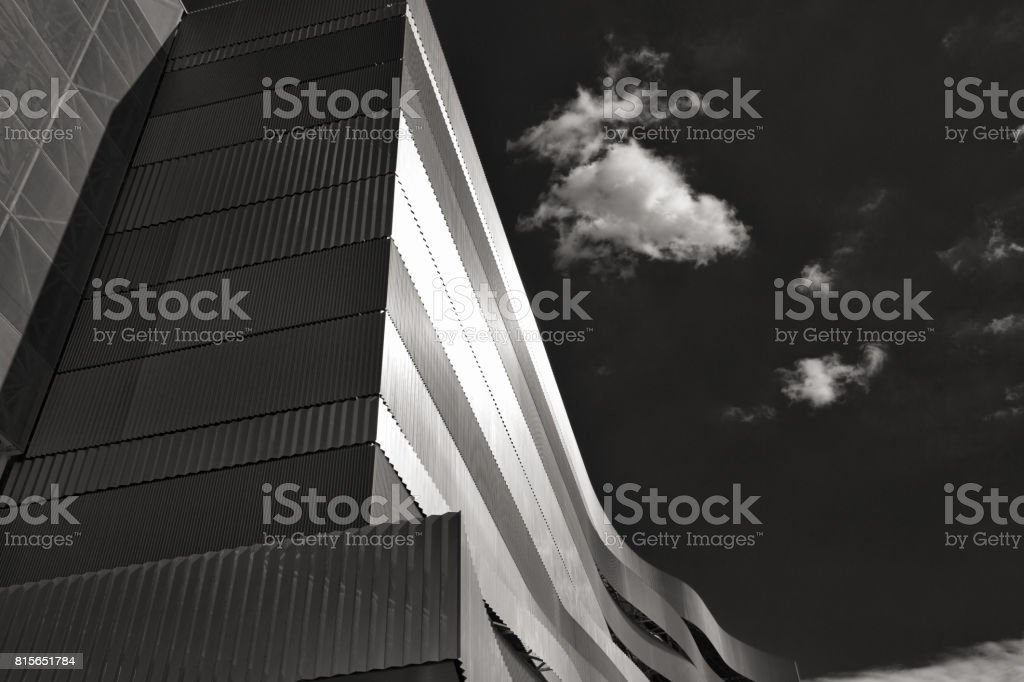 Main Building Of Danube Arena In Black And White Budapest Hungary