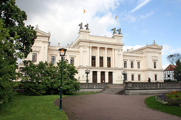 main building of the lund university, sweden, europe - lund stock photos and pictures