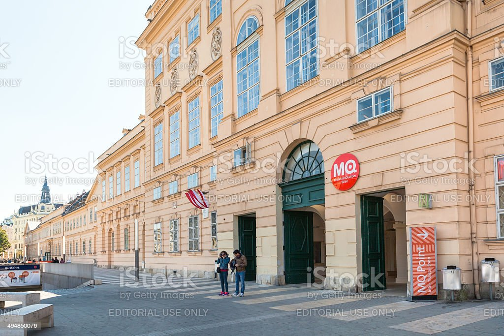 Main building of the Museum Quarter in Vienna city stock photo