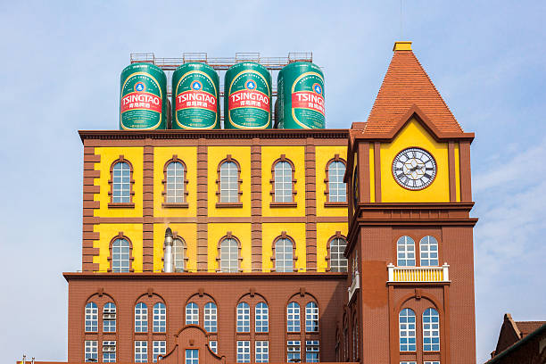Main building of the Qingdao brewery stock photo